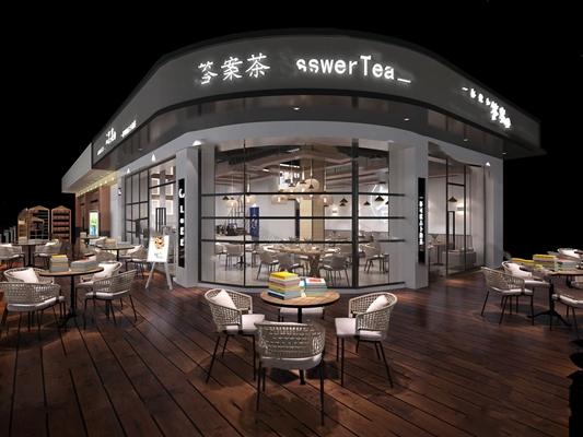 现代奶茶店3D模型【ID:324897553】