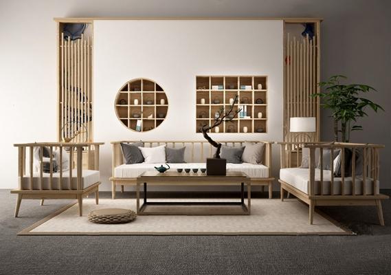 沙发茶几组合3D模型【ID:620008071】