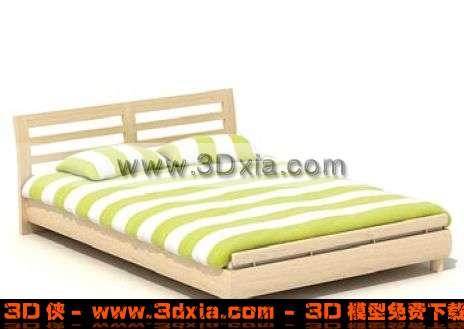 时尚清新的双人床3D模型【ID:3602】