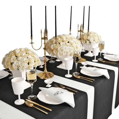 现代餐桌餐具烛台花卉组合3D模型【ID:927839373】