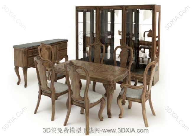 桌椅组合3D模型下载-版本3d9-Set02【ID:36111】