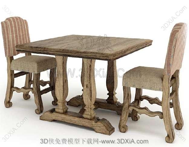 桌椅组合下载-版本3d9-Set143D模型【ID:36123】