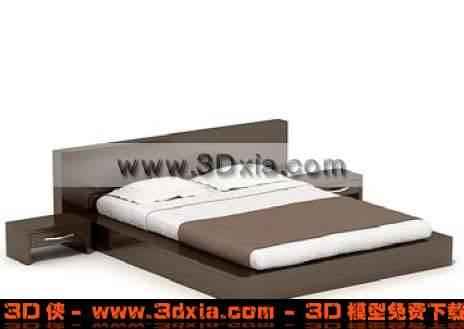 棕色经典的双人床3D模型【ID:3622】