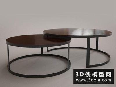 現代圓茶幾國外3D模型【ID:829621111】
