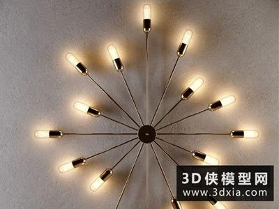 現代北歐壁燈國外3D模型【ID:829554837】