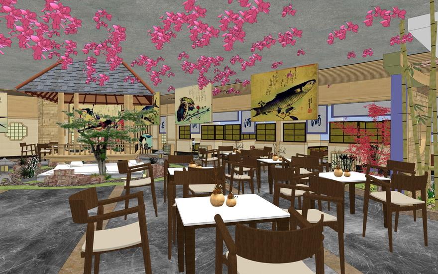 日式餐廳室內設計SU模型【ID:936364869】