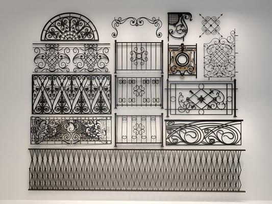 各種風格鐵藝雕花欄桿雕花3D模型【ID:828126961】