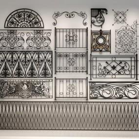 各种风格铁艺雕花栏杆雕花3D模型【ID:828126961】
