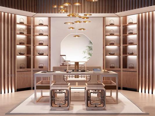 新中式茶室书桌椅书柜组合3D模型【ID:36829244】