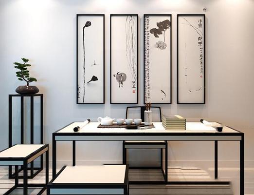 中式茶台书桌花架挂画组合3D模型【ID:36829868】