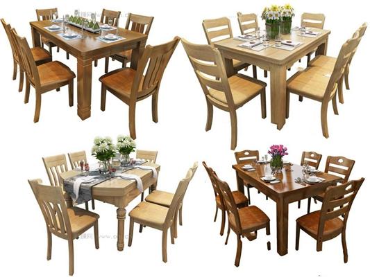 现代实木餐桌椅组合3D模型【ID:36830548】
