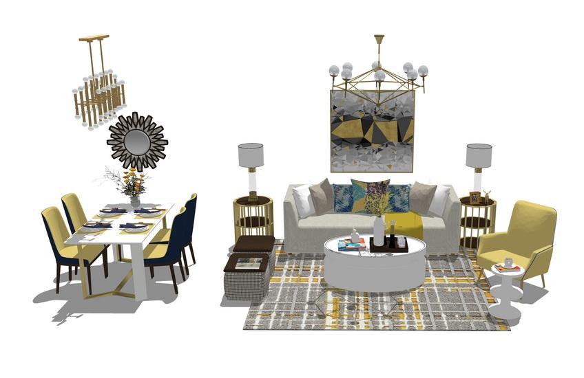 美式風格客廳餐廳家具組合SU模型【ID:736365601】