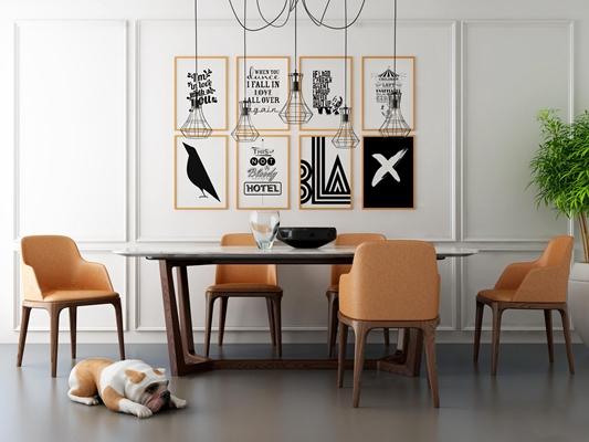 现代餐桌椅装饰画吊灯组合3D模型【ID:36853745】