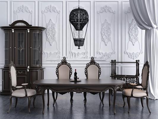 欧式实木椭圆餐桌椅吊灯组合3D模型【ID:36853946】