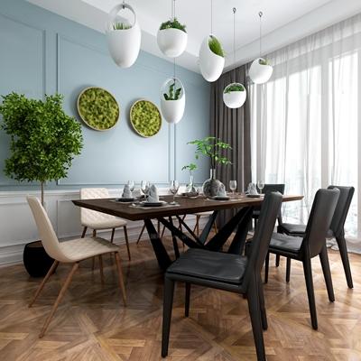 现代餐桌椅餐具盆栽组合3D模型【ID:36857049】