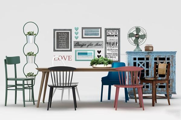 现代北欧餐桌椅边柜装饰画组合3D模型【ID:36857244】