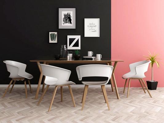 现代餐桌椅装饰画组合3D模型【ID:36858541】
