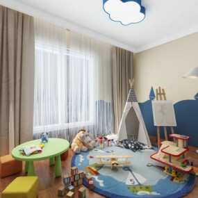 现代儿童房娱乐区3D模型【ID:127764289】