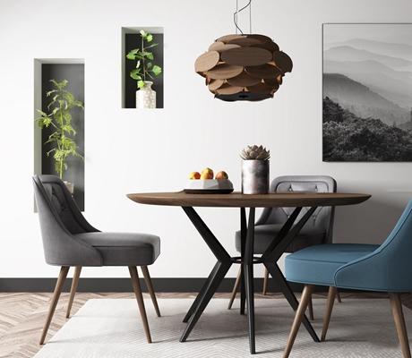 现代北欧圆形休闲桌椅吊灯组合3D模型【ID:36865968】