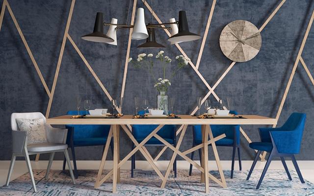 北欧餐桌椅组合3D模型【ID:36867244】