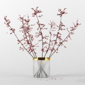 现代玻璃花瓶红豆插花组合3D模型【ID:36869585】