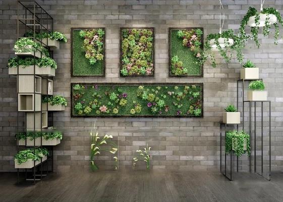 现代花架盆栽绿植墙组合3D模型【ID:36873883】