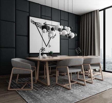 现代北欧餐桌椅吊灯组合3D模型【ID:36874840】