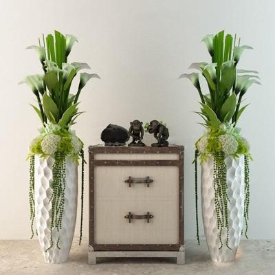 美式田园陶瓷花瓶花卉猴子饰品组合3D模型【ID:36876386】