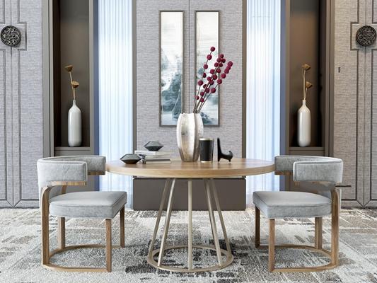 新中式圆形餐桌椅组合3D模型【ID:36876843】