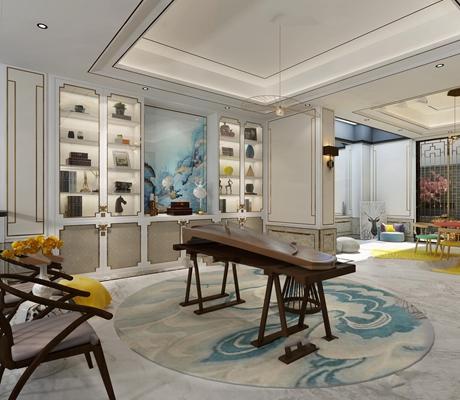 新中式古筝古琴装饰柜休闲厅3D模型【ID:36876847】