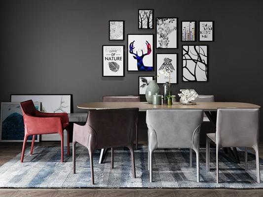 北欧椭圆餐桌椅装饰画组合3D模型【ID:36877843】