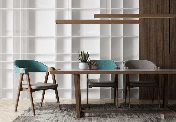 北欧实木餐桌椅吊灯盆栽组合3D模型【ID:36878344】