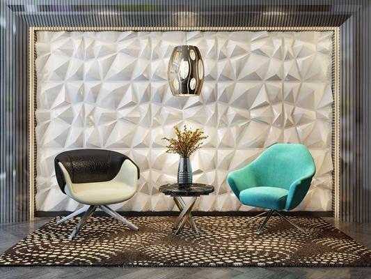 现代休闲沙发椅背景墙吊灯茶几组合3D模型【ID:36879160】