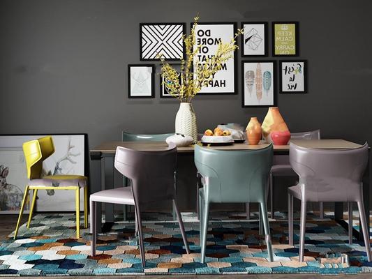 现代北欧餐厅餐桌椅组合3D模型【ID:36879341】