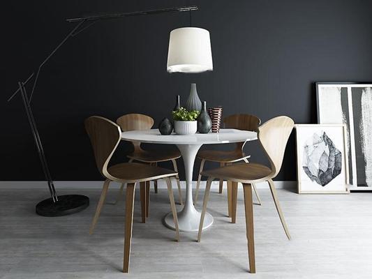 北欧圆形餐桌椅组合3D模型【ID:36881060】