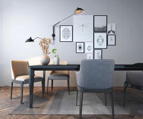 现代餐桌椅装饰画组合3D模型【ID:36883345】