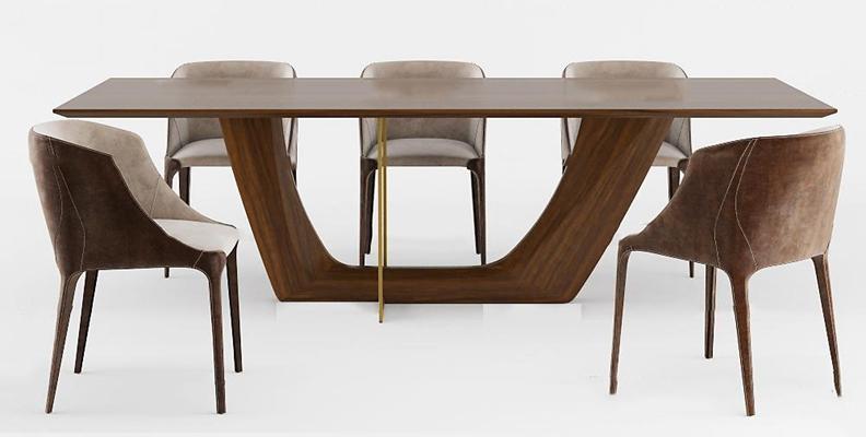 现代实木餐桌椅组合3D模型【ID:36883749】
