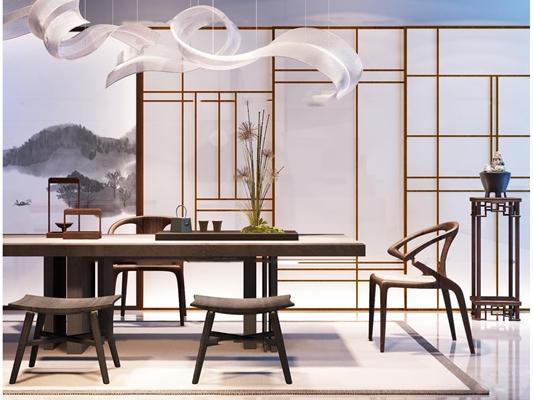 中式茶桌椅子吊灯屏风饰品摆设3D模型【ID:36886064】