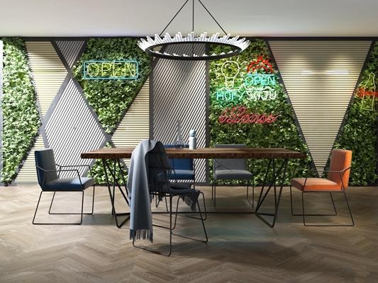 现代实木桌椅吊灯绿植墙饰组合3D模型【ID:36886568】