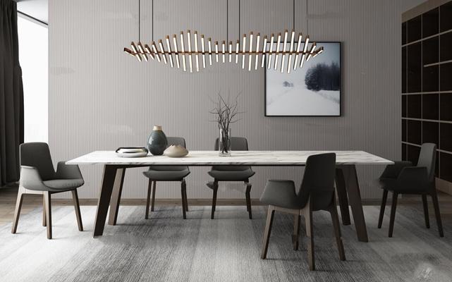 现代餐桌椅吊灯组合3D模型【ID:36887040】