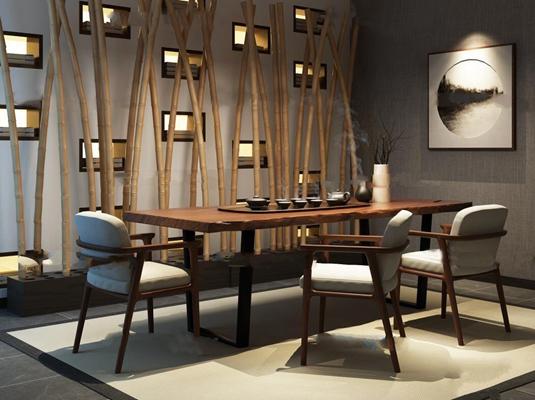 新中式泡茶桌椅组合3D模型【ID:36888260】