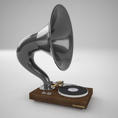 美式现代留音机留声机现代3D模型【ID:36889416】