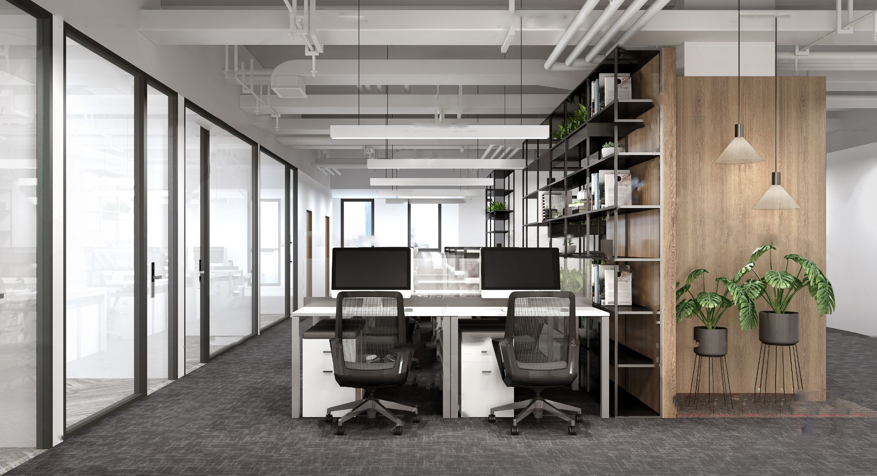 现代敞开式办公室3D模型【ID:743427014】