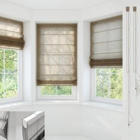棉麻折叠窗帘3石膏线3D模型【ID:36957187】