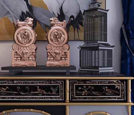 新中式石墩狮子雕像3D模型【ID:36961980】