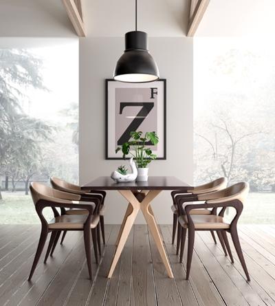 北欧实木餐桌椅装饰画吊灯组合3D模型【ID:36962942】