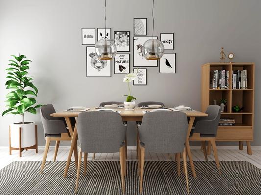 现代餐桌椅书架盆栽组合3D模型【ID:36963447】