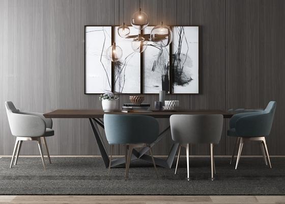現代餐桌椅裝飾畫吊燈組合3D模型【ID:36964349】