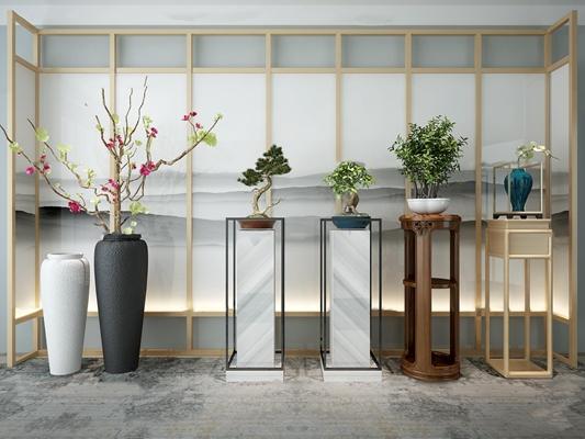 新中式花瓶花架盆景组合3D模型【ID:36965581】