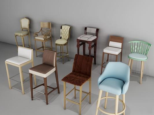欧式实木布艺吧台椅组合3D模型【ID:36967516】